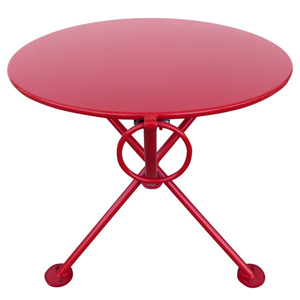 20 Inch Round Steel Outdoor Tripod Folding Coffee Table Red