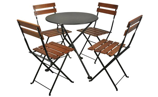 French Bistro Round Steel Outdoor Tripod Folding Tables