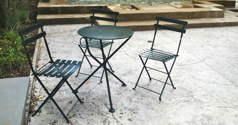 French Garden Steel Folding Chairs Installation. Economy 19th Century Reproduction French Garden Chairs STEEL Folding