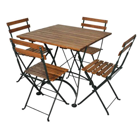... 19th Century Reproduction French Garden Cafe Folding Chairs, Walnut  Stained Chestnut Dining Table