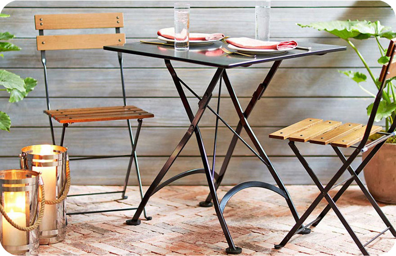 28 inch square steel outdoor folding table with chairs