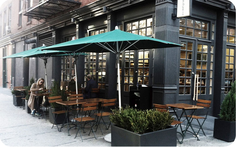 French Bistro Outdoor Cafe Folding Chairs With Wood And Steel Tables