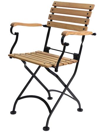 Teak Folding Bistro Armchair Rear View Teak Folding Bistro Armchair Side  View. # P505T Outdoor French Bistro Folding Arm Chair