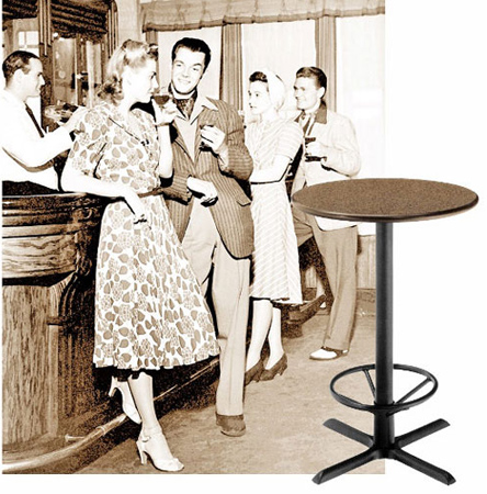 Stand Up Height Restaurant and Bar Table Base with Footrest