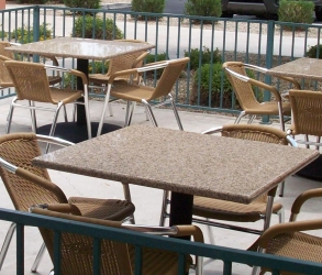 Outdoor Granite Restaurant Table Installation