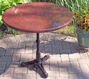 Ruby Red Outdoor Granite Restaurant Table Installation