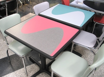 Inlay Restaurant Tables with Diner Chairs
