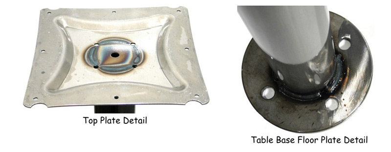 Heavy Duty Bolt Down Table Base Top Plate and Welded Base Bottom Detail