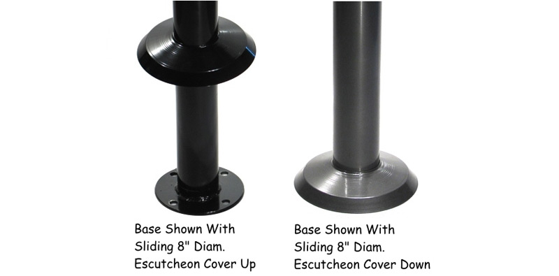 Heavy Duty Bolt Down Table Base Footrest Option and Escutcheon Cover Details
