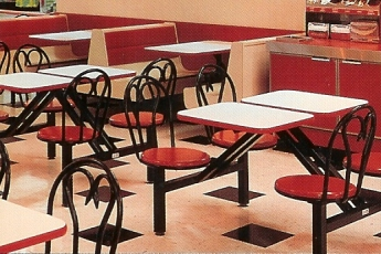 Steel Ice Cream Parlor Style Composite Cafeteria Seat