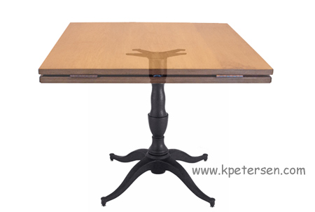 Georgian - Queen Anne Style Large Cast Iron Table Base With Dropleaf Restaurant Table Top Closed