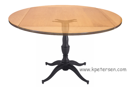 Georgian - Queen Anne Style Large Cast Iron Table Base With Dropleaf Restaurant Table Top Open