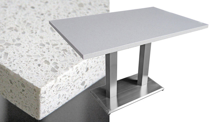 mesa quartz rectangular restaurant table snow white - Gray Restaurant 2016