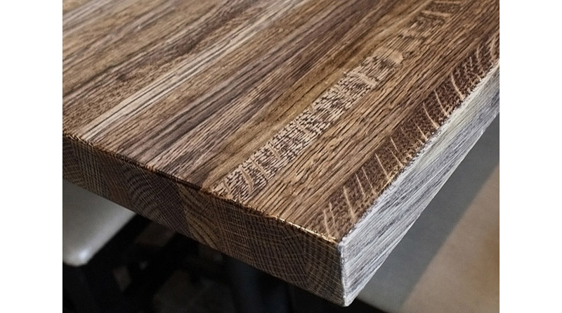 solid oak restaurant table bengal finish detail