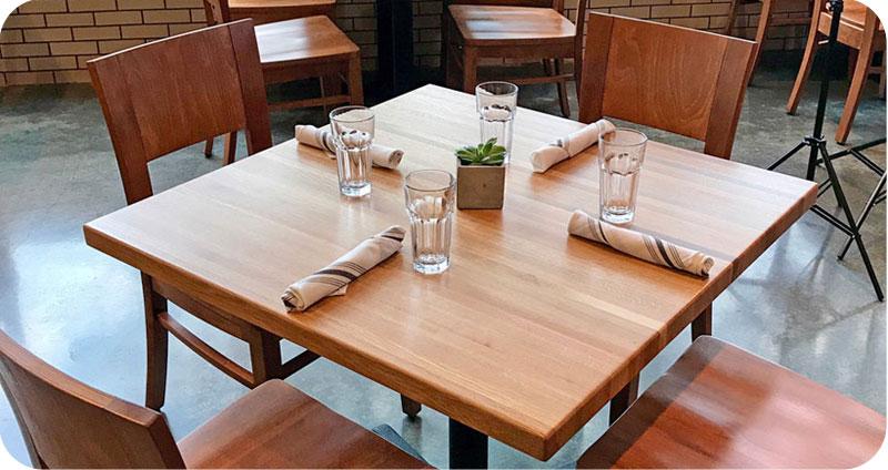 Oak Butcherblock Restaurant Table Installation