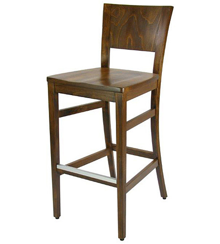 Contemporary Wood Bar Stool with Standard Wood Seat