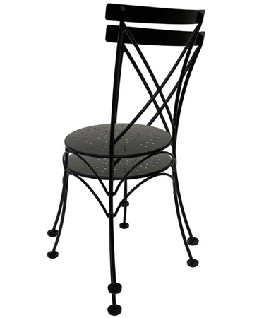 French style wrought iron cafe bistro chair for Wrought iron cafe chairs