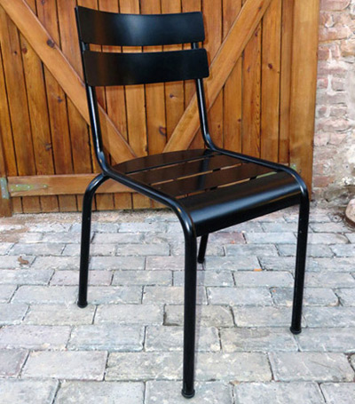 Parisian Park Style Steel Stacking Chair Side View