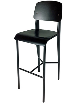 Prouve Barstool Black Frame, Black Seat Front View