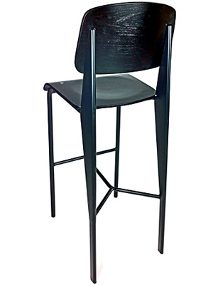 Prouve Barstool Black Frame, Black Seat Rear View