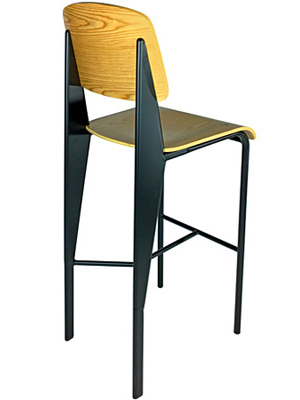Prouve Barstool Black Frame, Natural Seat Rear View