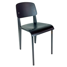 Prouve Chair Black Frame, Black Seat Front View