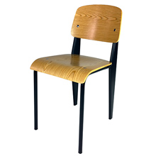 Prouve Chair Black Frame, Natural Seat Front View