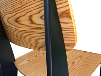 Prouve Bar Stool Black Frame, Natural Seat Rear Detail