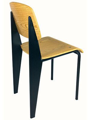 Prouve Chair Black Frame, Natural Seat Rear View ...