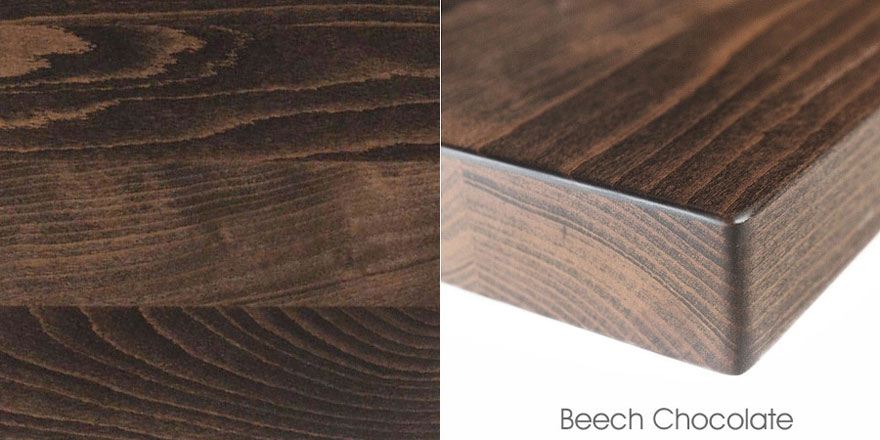 Mixed Plank Beech Chocolate Quick Ship Restaurant Tables