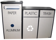 High Low Flat Top Recycle Waste Receptacle Cabinet