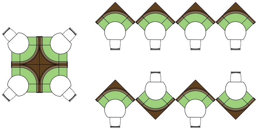 Upholstered Restaurant Booth Special Groupings - Center,             Saw Tooth, Zig Zag Arrangements