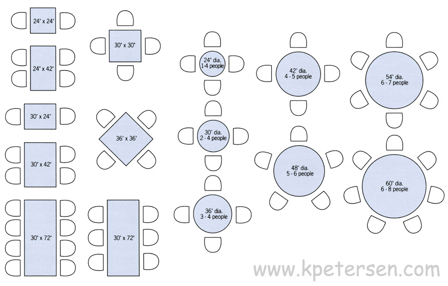 Restaurant Table Sizes Drawing Plan View.