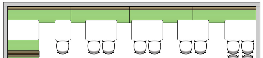 Upholstered Restaurant Booth Banquette with Tables and Chairs