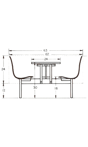 Restaurant Booth Layout Dimensions Elevation View