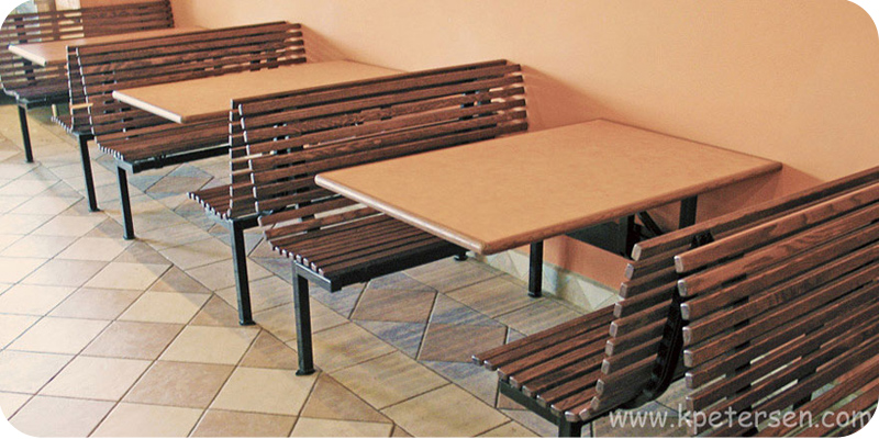 Oak Slat Seat Booths With Steel Support Frames