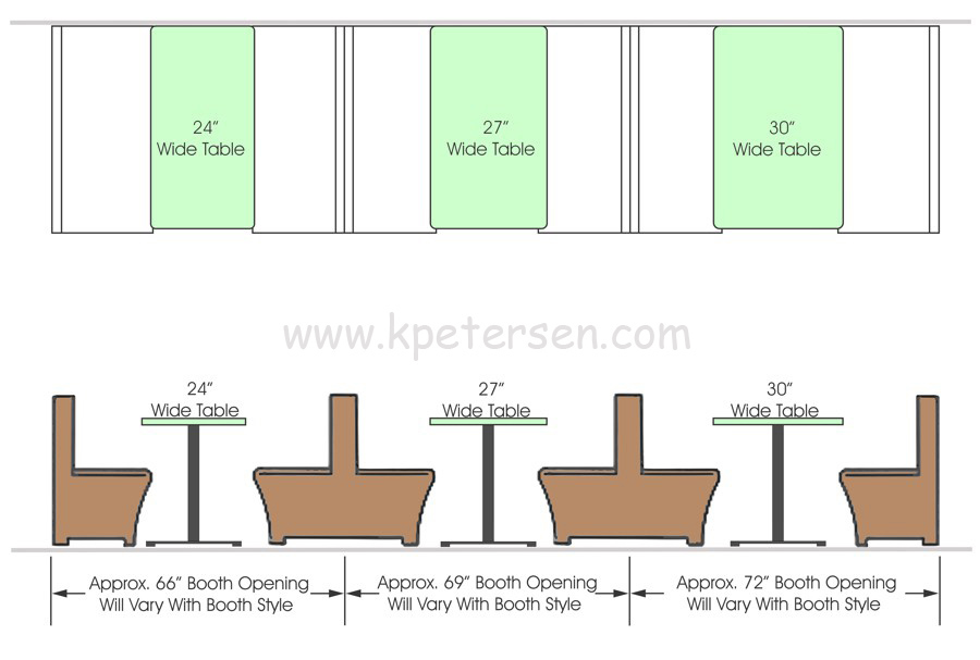 Single And Double Wood Booth Spacing With Table Tops