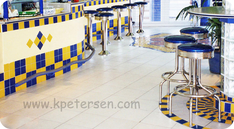 Retro Chrome Bar Stools Restaurant Installation