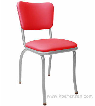Retro Modern Diner Chair Variation   Red Vinyl Upholstery Gray Steel Chair  Frame ...