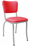 Retro Modern Diner Chair Variation - Red Vinyl Upholstery Gray Steel Chair Frame