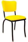 Retro Modern Diner Chair Variation - Yellow Vinyl Upholstery Black Steel Chair Frame