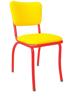 Retro Modern Diner Chair Variation   Yellow Vinyl Upholstery Red Steel  Chair Frame ...