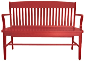 School House Waiting Bench Red