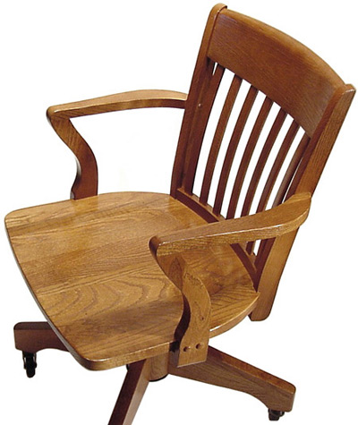 Oak Schoolhouse Swivel Arm Chair - Wood Seat