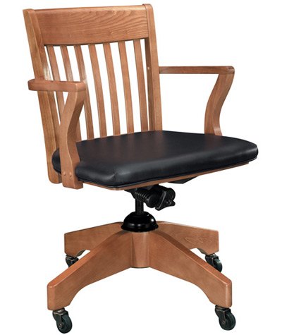 Oak Schoolhouse Swivel Arm Chair - Upholstered