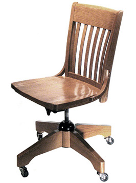 Oak Schoolhouse Swivel Side Chair Side View