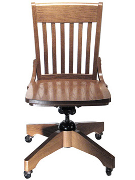 Oak Schoolhouse Swivel Side Chair Front View