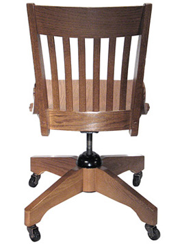 Oak Schoolhouse Swivel Side Chair Rear View