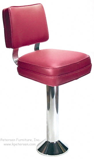 Soda Fountain Counter Stool with Vertical Channel Back