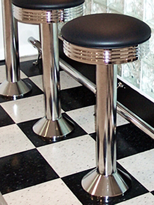Soda Fountain Counter Stool With Round Chrome Ring Seat